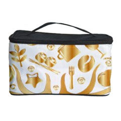 Abstract Book Floral Food Icons Cosmetic Storage Case by Nexatart