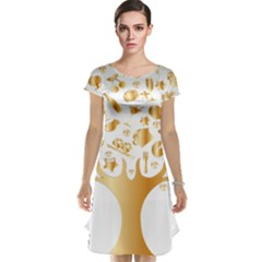 Abstract Book Floral Food Icons Cap Sleeve Nightdress