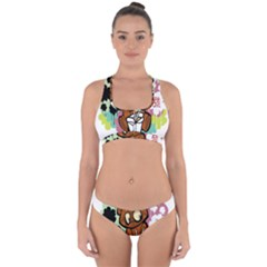 Bear Cute Baby Cartoon Chinese Cross Back Hipster Bikini Set