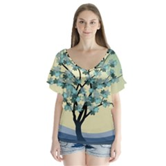 Branches Field Flora Forest Fruits Flutter Sleeve Top