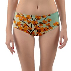 Branches Field Flora Forest Fruits Reversible Mid Waist Bikini Bottoms