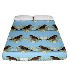 Sparrows Fitted Sheet (queen Size) by SuperPatterns