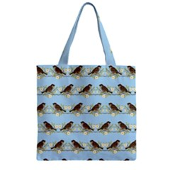 Sparrows Zipper Grocery Tote Bag by SuperPatterns