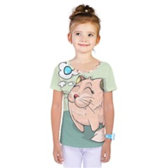 Cat Animal Fish Thinking Cute Pet Kids  One Piece Tee