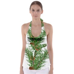 Branch Floral Green Nature Pine Babydoll Tankini Top