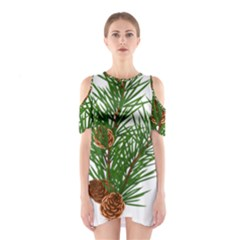 Branch Floral Green Nature Pine Shoulder Cutout One Piece