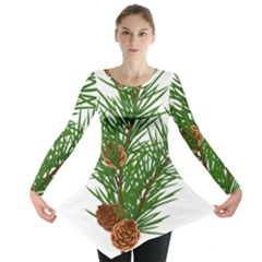 Branch Floral Green Nature Pine Long Sleeve Tunic  by Nexatart
