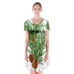 Branch Floral Green Nature Pine Short Sleeve V Neck Flare Dress
