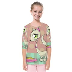 Cat Food Eating Breakfast Gourmet Kids  Quarter Sleeve Raglan Tee