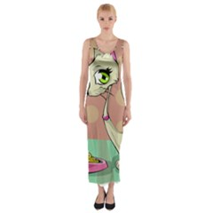 Cat Food Eating Breakfast Gourmet Fitted Maxi Dress