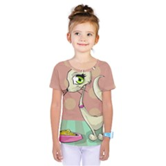 Cat Food Eating Breakfast Gourmet Kids  One Piece Tee