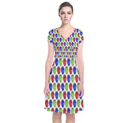 Colorful Shiny Eat Edible Food Short Sleeve Front Wrap Dress