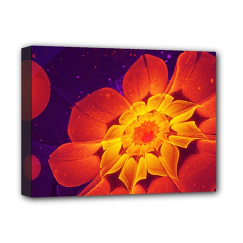 Royal Blue, Red, And Yellow Fractal Gerbera Daisy Deluxe Canvas 16  X 12   by jayaprime
