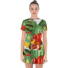 Fruits Vegetables Artichoke Banana Drop Hem Mini Chiffon Dress