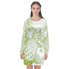 Fruits Vintage Food Healthy Retro Long Sleeve Chiffon Shift Dress  by Nexatart
