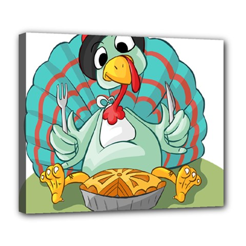 Pie Turkey Eating Fork Knife Hat Deluxe Canvas 24  X 20   by Nexatart