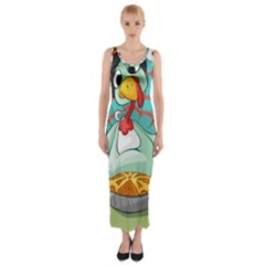 Pie Turkey Eating Fork Knife Hat Fitted Maxi Dress by Nexatart