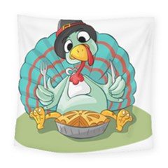 Pie Turkey Eating Fork Knife Hat Square Tapestry (large) by Nexatart