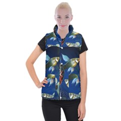 Marine Fishes Women s Button Up Puffer Vest