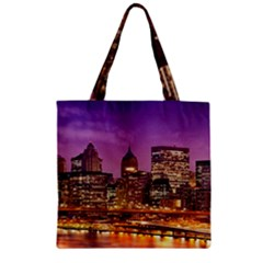 City Night Zipper Grocery Tote Bag