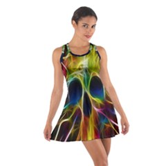 Skulls Multicolor Fractalius Colors Colorful Cotton Racerback Dress