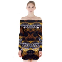 Textures Snake Skin Patterns Long Sleeve Off Shoulder Dress