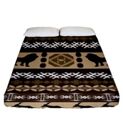 Lion African Vector Pattern Fitted Sheet (king Size) by BangZart