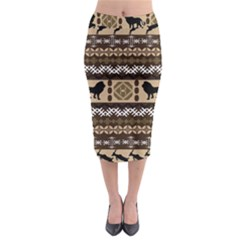 Lion African Vector Pattern Midi Pencil Skirt by BangZart