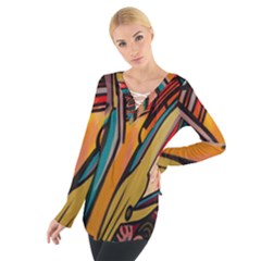 Vivid Colours Tie Up Tee by BangZart