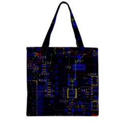 Technology Circuit Board Layout Zipper Grocery Tote Bag by BangZart