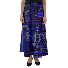 Technology Circuit Board Layout Flared Maxi Skirt