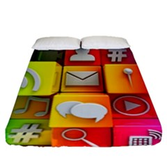 Colorful 3d Social Media Fitted Sheet (queen Size)