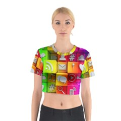 Colorful 3d Social Media Cotton Crop Top