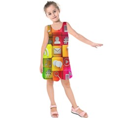 Colorful 3d Social Media Kids  Sleeveless Dress