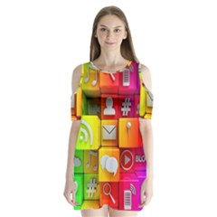 Colorful 3d Social Media Shoulder Cutout Velvet  One Piece