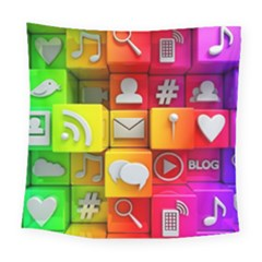Colorful 3d Social Media Square Tapestry (large) by BangZart