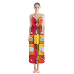Colorful 3d Social Media Button Up Chiffon Maxi Dress by BangZart