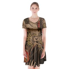Chinese Dragon Short Sleeve V Neck Flare Dress