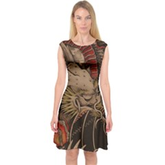 Chinese Dragon Capsleeve Midi Dress