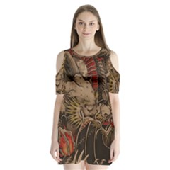 Chinese Dragon Shoulder Cutout Velvet  One Piece