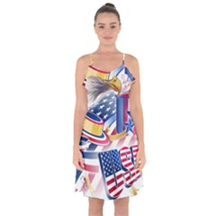 United States Of America Usa  Images Independence Day Ruffle Detail Chiffon Dress