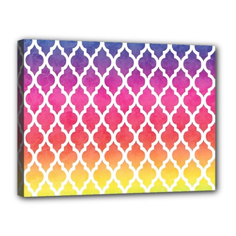 Colorful Rainbow Moroccan Pattern Canvas 16  X 12