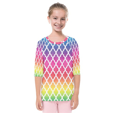 Colorful Rainbow Moroccan Pattern Kids  Quarter Sleeve Raglan Tee by BangZart