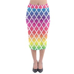 Colorful Rainbow Moroccan Pattern Midi Pencil Skirt