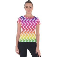 Colorful Rainbow Moroccan Pattern Short Sleeve Sports Top