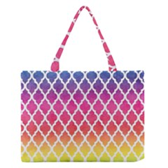 Colorful Rainbow Moroccan Pattern Medium Zipper Tote Bag