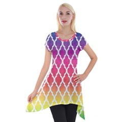Colorful Rainbow Moroccan Pattern Short Sleeve Side Drop Tunic