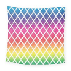 Colorful Rainbow Moroccan Pattern Square Tapestry (large)