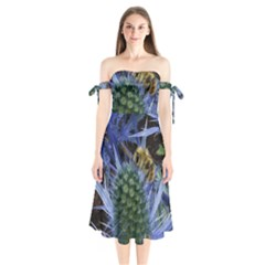 Chihuly Garden Bumble Shoulder Tie Bardot Midi Dress