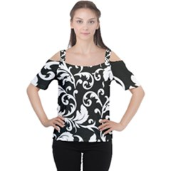 Vector Classicaltr Aditional Black And White Floral Patterns Cutout Shoulder Tee